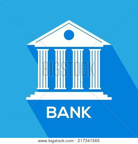 Bank icon for mobile web apps. Banking investment concept. Flat style. Vector illustration