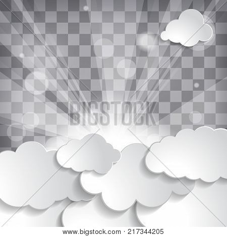 sun with rays and clouds on a chequered background