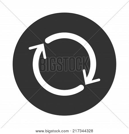 Reset icon in black circle iconic symbol inside a circle on white background. Vector Iconic Design.