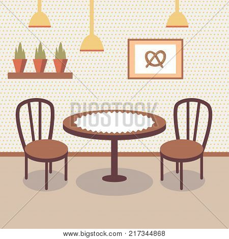 Flat design illustration of bakery store interior with table covered with white cloth, two wooden chairs, potted plants and picture of pretzel on the wall. Cafe inside, empty room. Cartoon vector