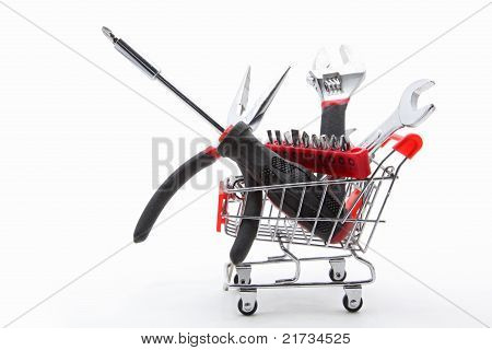 Collection Of Construction Tools In Cart
