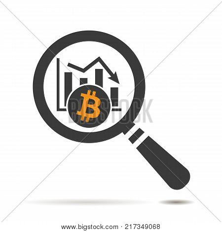 flat search icon of bitcoin cryptocurrency graph going down