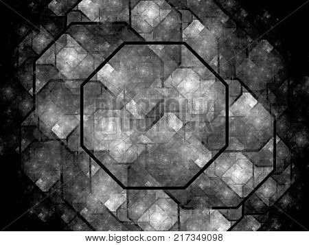 Octagon shaped nanocrystal grid black and white texture computer generated abstract background 3D rendering