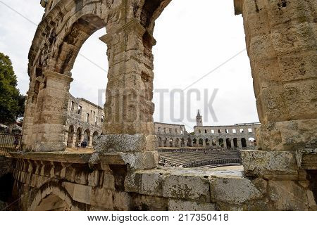 PULA CROATIA - SEPTEMBER 1 2017: The Pula arena in Croatia. The Pula arena is a Roman amphitheatre and the best preserved ancient monument in Croatia.