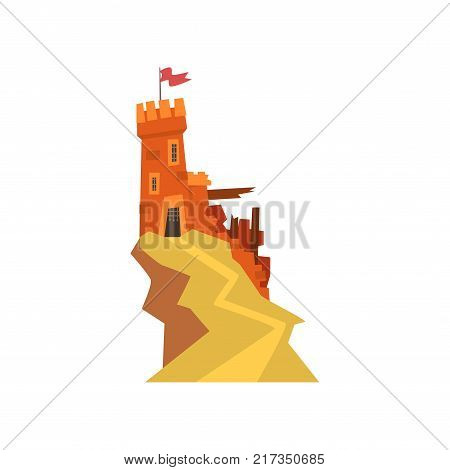 Old orange fortress with destroyed wall on top of hill. Castle with iron grating on entrance and windows. Fluttering red flag on tower. Isolated flat vector. Design for kids fairytales illustration.
