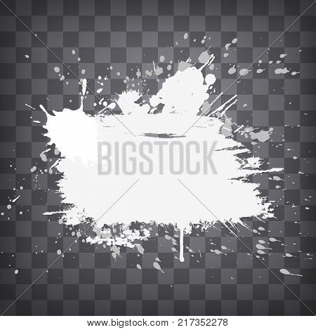 grunge white splashes and splatters frame on a chequered background