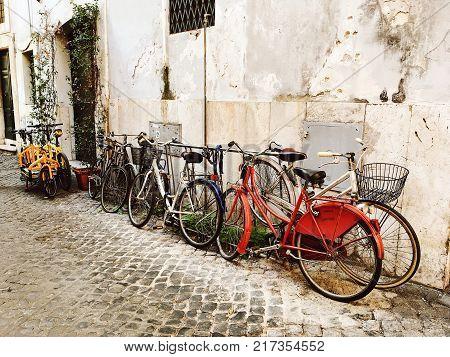 Rome Italy - November 2 2017: fascinating conversation two elderly Italian women on street