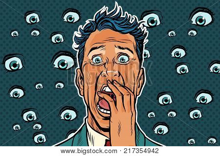 Horrible background with eyes and a frightened man. Pop art retro vector illustration