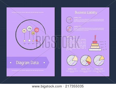 Diagram data business liability analysis methods represented on violet background. Vector illustration with statistical analytics for business