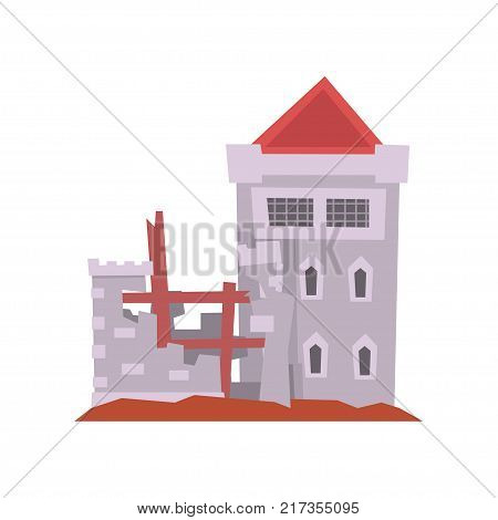Old castle with iron grating on windows, red conical roof and destroyed wall. Medieval architecture. Historical building icon. Isolated flat vector design for web, mobile game or children s story book