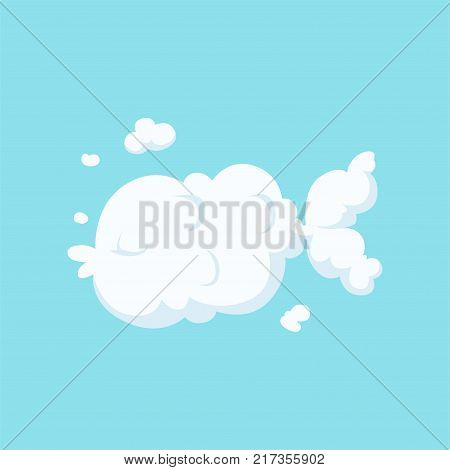 Silhouette of flying fish in cloud shape. Cartoon kids style. Aquatic animal concept. Vector illustration isolated on blue background. Graphic flat design for print, postcard or children s story book.