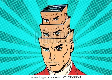 head a maze of personality inside the head. Medicine and psychology. Mental disorders. Pop art retro vector illustration