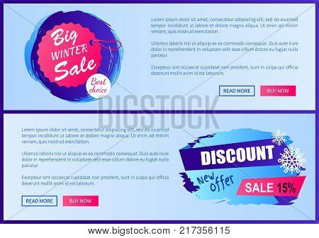 Big winter sale best choice, new offer 15 , web pages collections with additional information, images and buttons vector illustration