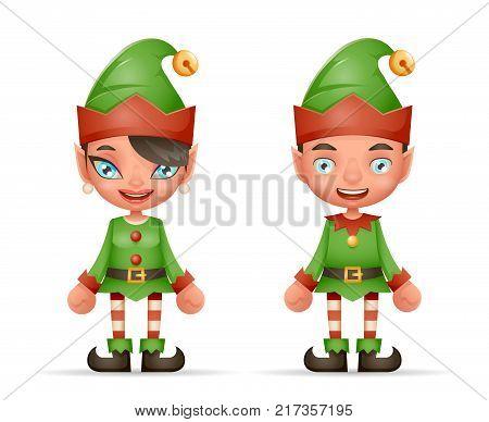 Cute Cartoon Elf Boy And Girl Characters Christmas Santa Teen Icons 3d New Year Holiday Realistic Design Vector Illustration