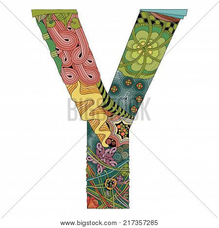 Hand-painted art design. Letter Y zentangle object.