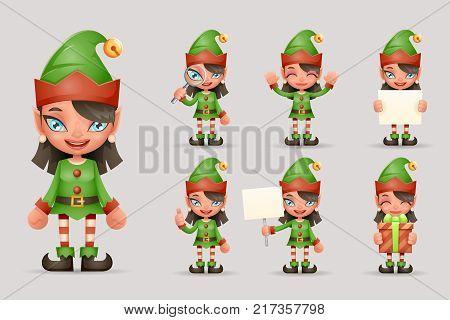 Girl Cute Elf Christmas Santa Teen Icons New Year Holiday 3d Cartoon Characters Icons Realistic Set Design Vector Illustration