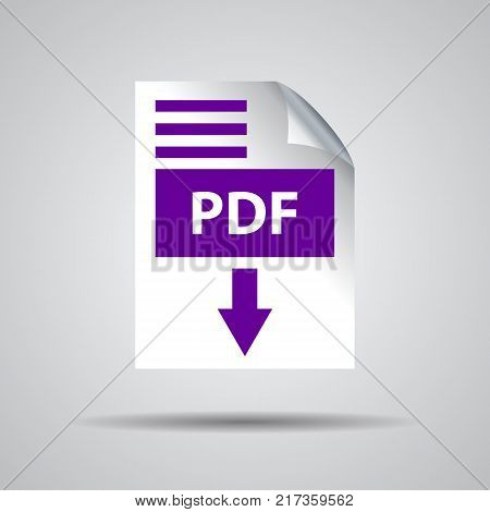 flat pdf download icon on a grey background