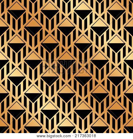 Seamless Art-deco Ornamental Pattern With Golden Gradient. Template For Design. Vector Illustration