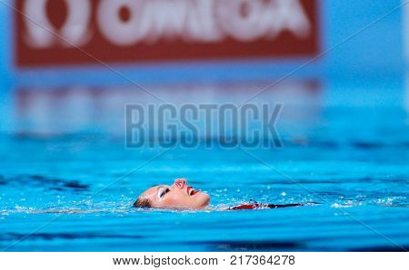 BARCELONA, SPAIN - JULY, 24: Estel Anais Hubaud of France during a Solo Synchronised Swimming event of World Championship BCN2013 on July 24, 2013 in Barcelona Spain