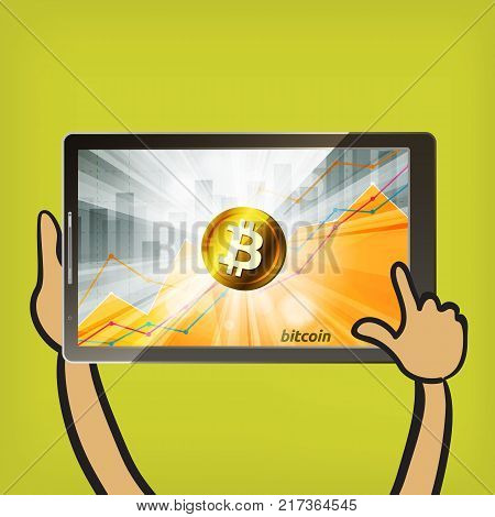 Golden bitcoin cryptocurrency in the bright rays on background with statistics chart showing various visualization on the screen of tablet