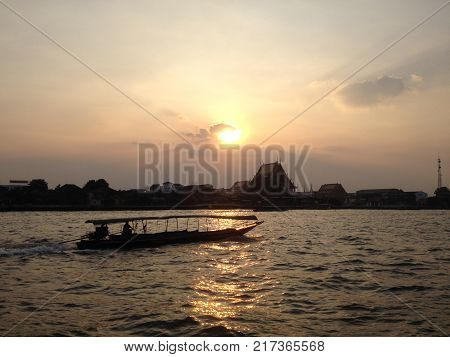Saturday Sunset in Thailand and Chaopraya river