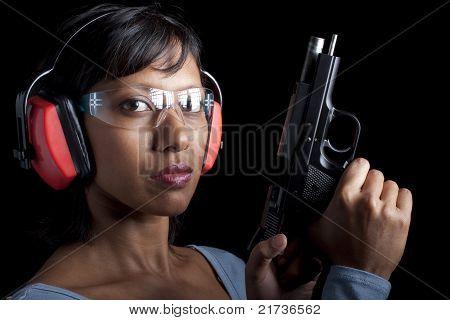 Woman at gun range