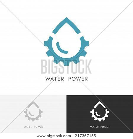 Water power logo - drop of water and gear wheel or pinion symbol. Alternative energy source, industry and ecology vector icon.