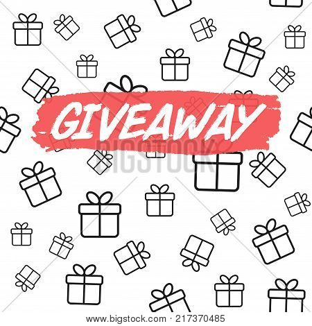 Giveaway card template for blogs. Vector background with gift boxes.