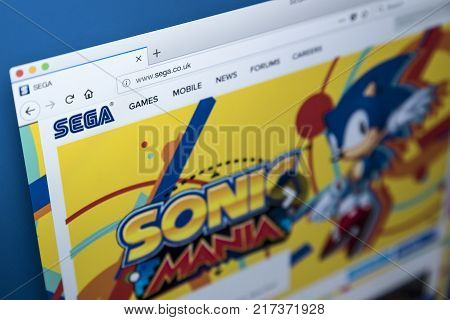 LONDON UK - NOVEMBER 28TH 2017: The homepage of the official website for the SEGA Games Company- the Japanese video game developer and publisher on 28th November 2017.