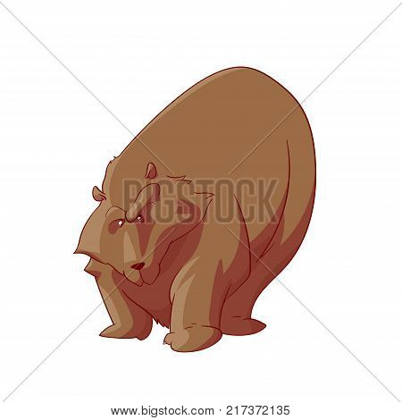 Colorful vector illustration of a cartoon vector fat and angry bear