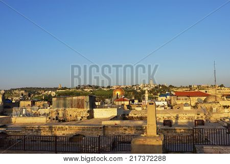 View of Al Aqsa Mosque and the Mount of Olives Jerusalem Old city from the Temple Mount roofs at sunset Dome of the Rock and Al Aqsa Mosque in Jerusalem Israel
