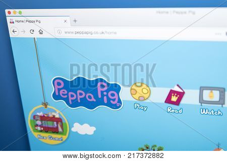 LONDON UK - NOVEMBER 28TH 2017: The homepage of the official Peppa Pig website - the British preschool animated television series on 28th November 2017.