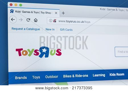LONDON UK - NOVEMBER 28TH 2017: The homepage of the official website for Toys R Us - the American toy products retailer on 28th November 2017.