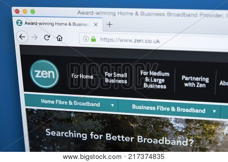 LONDON UK - NOVEMBER 22ND 2017: The homepage of the official website for Zen Internet - the internet service provider based in England on 22nd November 2017.