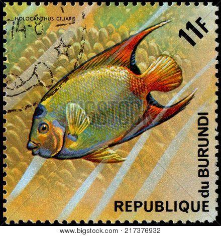 REPUBLIC OF BURUNDI - CIRCA 1974: a postage stamp, printed in Burundi, shows a fish Queen Angelfish (Holocanthus ciliaris)