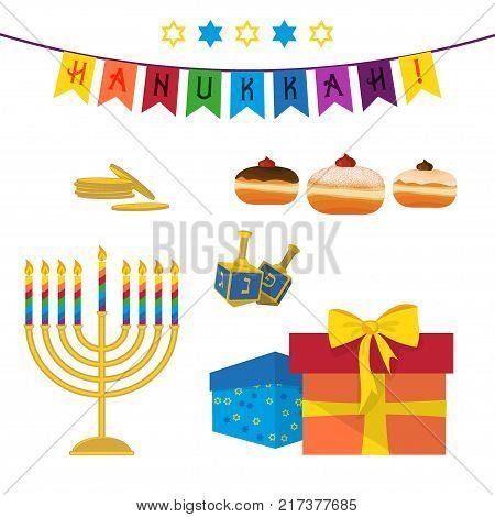 Jewish holiday of Hanukkah, Hanukkah menorah, sufganiyot doughnuts, dreidel spinning top, traditional holiday symbols set isolated on white background