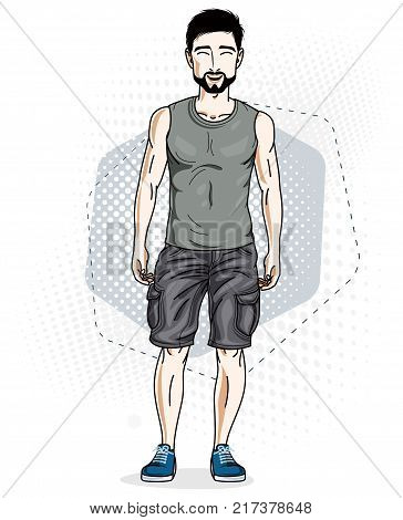 Confident handsome brunet young man standing. Vector illustration of male wearing casual clothes jeans shorts and singlet.
