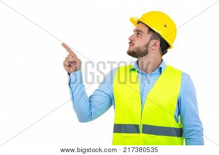 Angry builder or constructor yelling at somebody as fury concept isolated on white background with copyspace. poster
