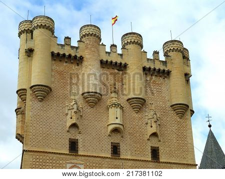 Stunning Facade of the Alcazar of Segovia, UNESCO World Heritage Site in Segovia, Spain