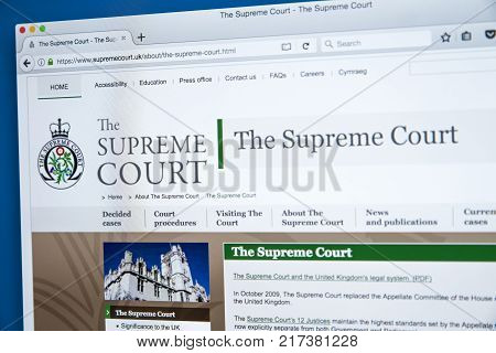 LONDON UK - NOVEMBER 17TH 2017: The homepage of the official website for The Supreme Court of the United Kingdom on 17th November 2017.