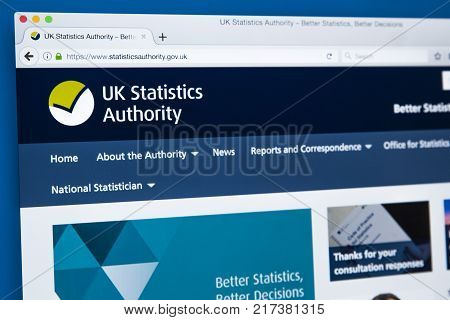 LONDON UK - NOVEMBER 17TH 2017: The homepage of the official website for the UK Statistics Authority on 17th November 2017.
