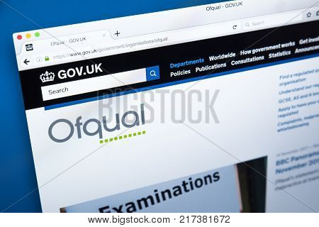 LONDON UK - NOVEMBER 17TH 2017: The homepage of the official website for the Office of Qualifications and Examinations Regulation - the non-ministerial government dept regulating exams and tests in England on 17th November 2017.