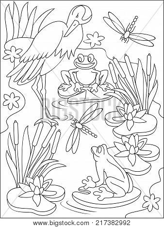 Page with black and white illustration of swamp for coloring. Developing children skills for drawing.