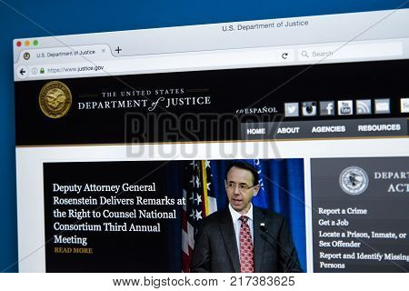 LONDON UK - NOVEMBER 17TH 2017: The homepage of the official website for the United States Department of Justice on 17th November 2017.