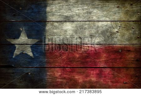 flag of texas on old wooden background