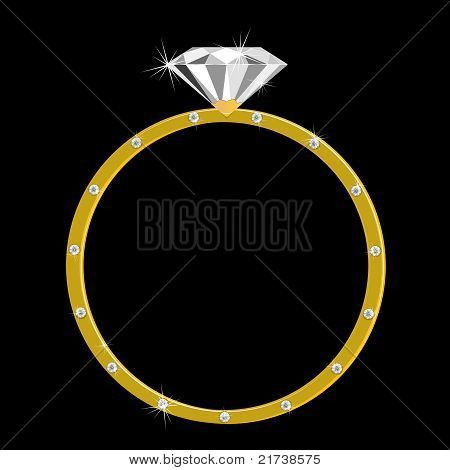 Gold Ring With One Large Diamond And Many Small
