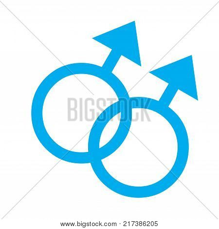 Gender symbol, two male relationship with a white background