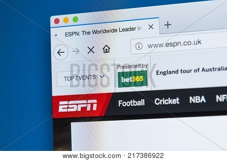 LONDON UK - NOVEMBER 2OTH 2017: The homepage of the official website for ESPN also known as the Entertainment and Sports Programming Network television channel on 20th November 2017.
