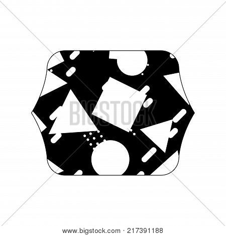 contour line quadrate with memphis geometric style background vector illustration