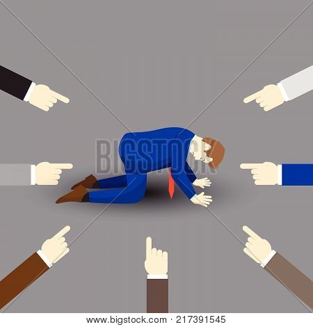 Vector Illustration Business Concept Designed As A Businessman Is Kneeling And Others Pointing At Him. He Is Seriously Criticized Blamed Accused By The Others And Full Of Depression And Stress.